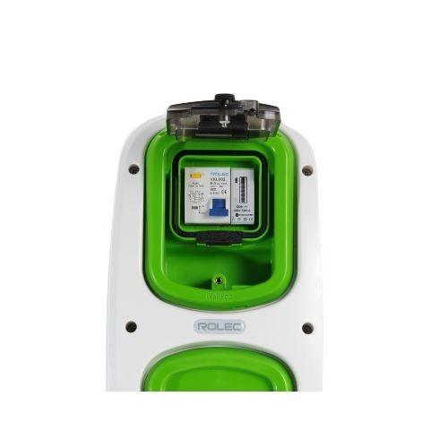 Wallpod inzetstuk aardlekautomaat 2pol B10 / 30mA met KWh me