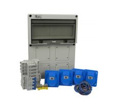 Verteilerkasten Front 4 St. CEE 16A/ 4x kWh Leistungszähler - Bausatz