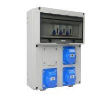 Verteilerkasten Front 3 St. CEE 16A/ 3x kWh Leistungszähler montiert