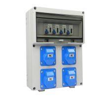 Verteilerkasten Front 4 St. CEE 16A/ 4x kWh Leistungszähler montiert