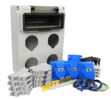 Verteilerkasten Front 4 St. CEE 16 A / 4x kWh Leistungszähler - Bausatz IP44