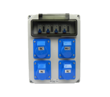 Verteilerkasten Front 4 St. CEE 16A / 4x kWh Leistungszähler montiert IP44